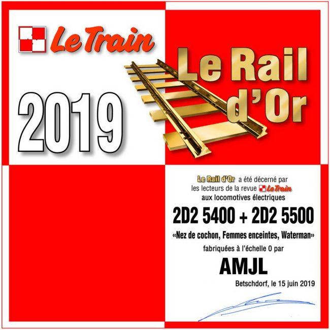 Diplome Rail d'Or 2019 - AMJL 2D2- décerné par les lecteurs de la revue Le Train
